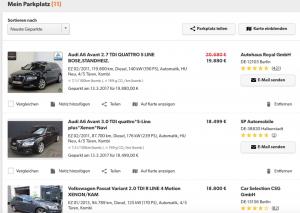 Nachfrage für das gesuchte Fahrzeug beobachten