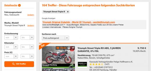 Motorrad-Verkaufsbörsen bieten ein großes Angebot
